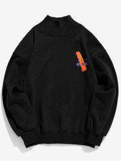 Patchwork Graphic Fleece Sweatshirt - Black S