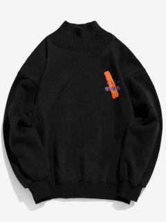 Patchwork Graphic Fleece Sweatshirt - Black Xl