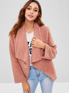 Flauschiger Webpelz Winter Drapierter Mantel - Orange Rosa L