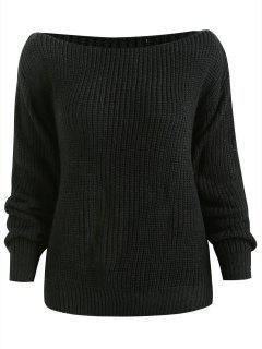 ZAFUL Relaxed Slash Neck Sweater - Black S