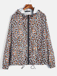 ZAFUL Leopard Loose Hooded Windbreaker - Leopard S