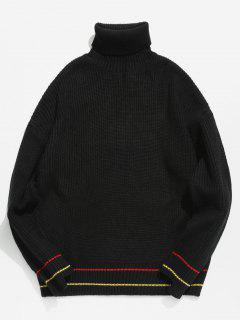 Rollkragen Streifen Trim Drop Schulter Chunky Sweater - Schwarz L