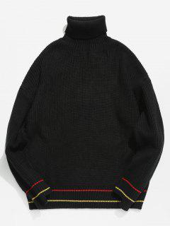 Turtleneck Stripe Trim Drop Shoulder Chunky Sweater - Black Xl