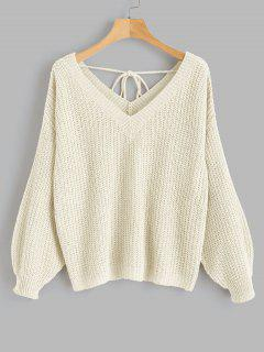V Neck Drop Shoulder Oversized Sweater - Warm White M