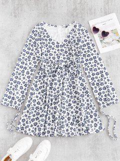 ZAFUL Surplice Printed Long Sleeve Tea Dress - White L