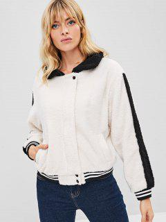 ZAFUL Color Block Striped Fluffy Coat - Warm White S