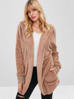 Cozy Faux Fur Winter Coat - Camel Brown M