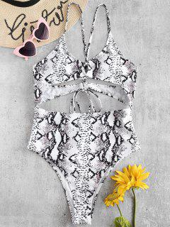 ZAFUL Snake Print Crisscross Cut Out Swimsuit - White M