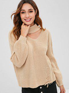 Lace Up-Pullover Mit Cut-out-Ausschnitt - Tan