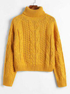 ZAFUL Turtleneck Cropped Cable Knit Sweater - Bee Yellow L