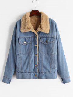 ZAFUL Faux Fur Lined Winter Denim Jacket - Denim Blue L