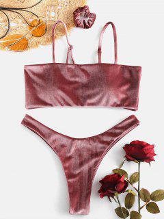 ZAFUL High Cut Velvet Bikini Set With Hair Band - Rosy Finch L