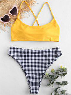 ZAFUL Plaid Criss Cross Bikini Set - Helles Gelb S