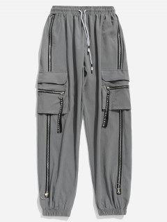 Drawstring Zipper Pockets Jogger Pants - Light Gray M