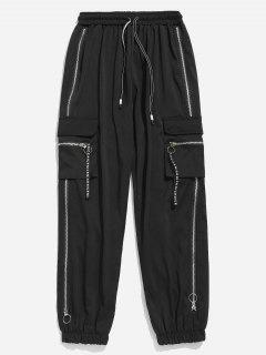 Bolsillo Con Cremallera Bolsillos Pantalones Jogger - Negro Xl