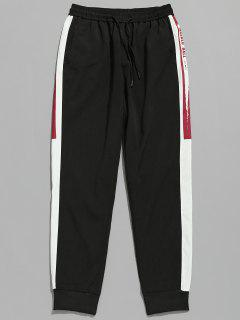 Drawstring Letter Pattern Jogger Pants - Black L
