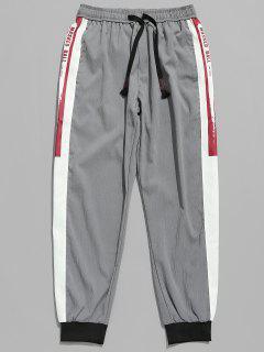 Pantalones De Jogger Con Patrón De Letras Con Cordón - Gris Oscuro Xl