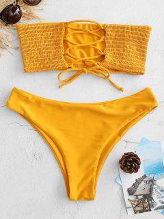 ZAFUL Bikini Smocked Con Cordones - Amarilla De Abeja  M