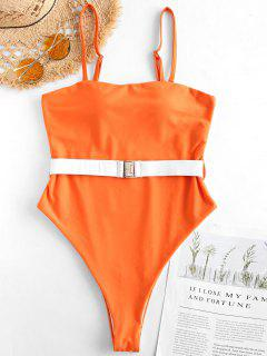 ZAFUL Belt High Cut Bandeau Swimsuit - Papaya Orange S