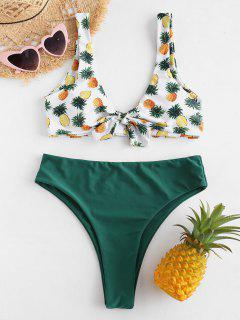 ZAFUL Pineapple Knotted Bikini Set - Green L