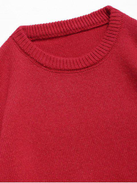 lady Round Neck Contract Color Pullover Sweater - RED XL Mobile