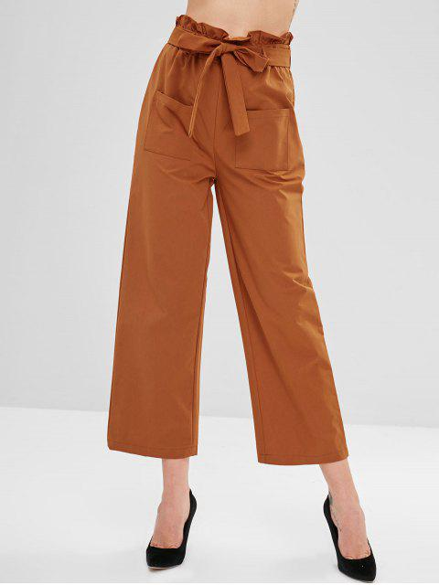 lady ZAFUL Frilled High Waisted Wide Leg Pants - HALLOWEEN ORANGE L Mobile