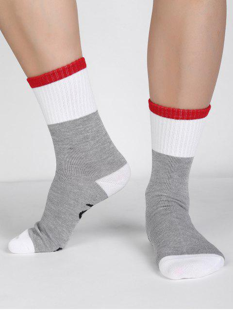 chic Graphic Letter Printed Socks - ASH GRAY  Mobile