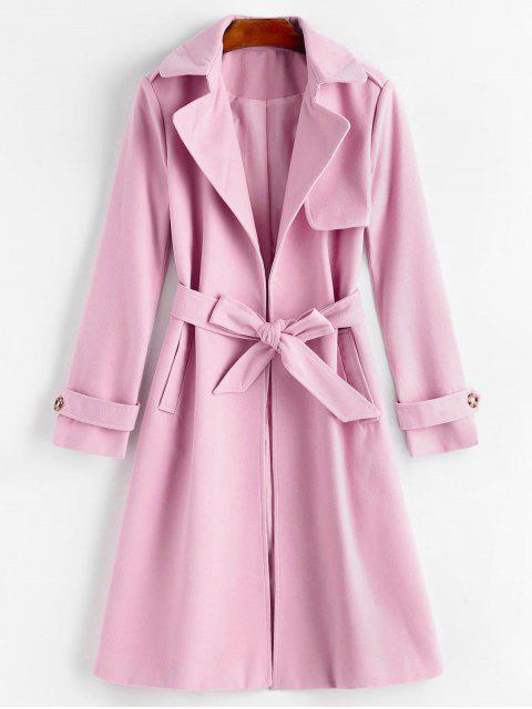 fashion Belted Lapel Coat with Pockets - PINKISH PURPLE XL Mobile