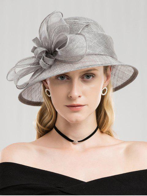 latest Solid Color Flower Elegant Hat - PLATINUM  Mobile