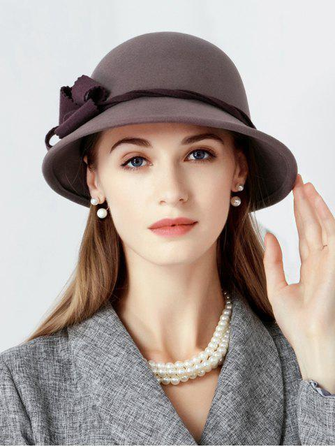 chic Floral Side Wool Cloche Hat - FIREBRICK  Mobile