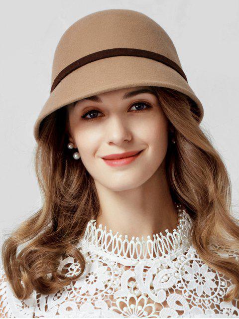 latest Elegant Bowknot Back Wool Cloche Hat - DARK GOLDENROD  Mobile