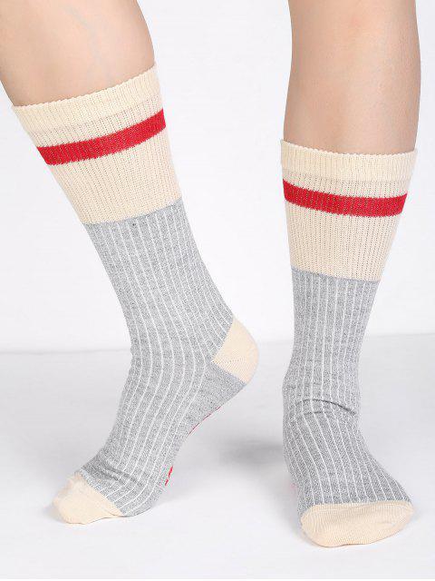 women's Wool Christmas Letter Cotton Mid Calf Socks - GRAY  Mobile