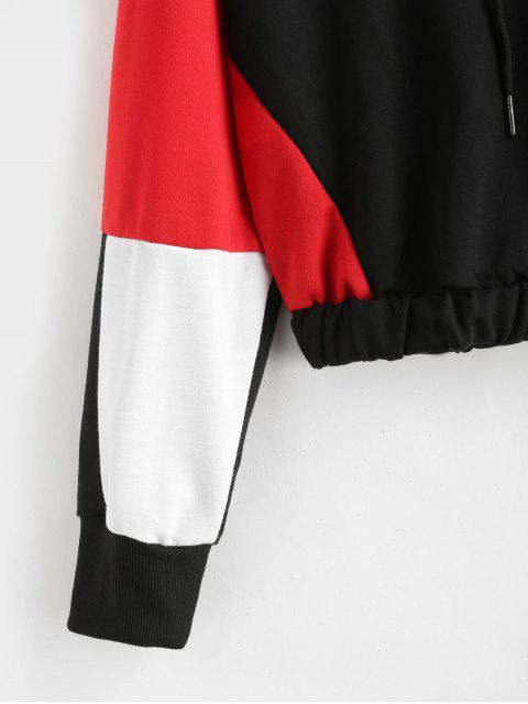 fashion Color Block Drop Shoulder Pullover Hoodie - MULTI M Mobile