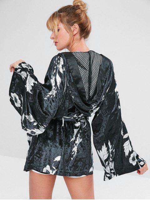 ZAFUL Velvet Flower Boxcoat mit Gürtel - Schwarz L Mobile