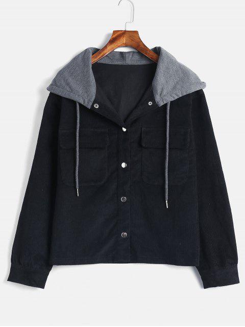 ZAFUL Snap Button Chaqueta con capucha de pana - Negro M Mobile