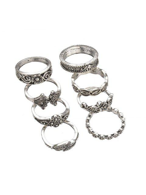 lady 8pcs Hollow Out Design Alloy Rings - SILVER  Mobile