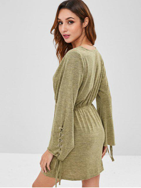 outfits ZAFUL Lace Up Surplice Knitted Dress - FERN GREEN XL Mobile