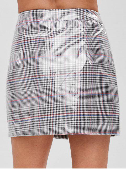 buy ZAFUL Faux Pockets Zip Front Plaid Skirt - MULTI L Mobile