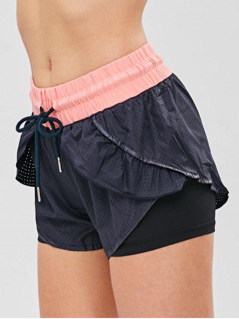 Pantalones cortos deportivos de superposición de bloques de color perforados - Negro L Mobile