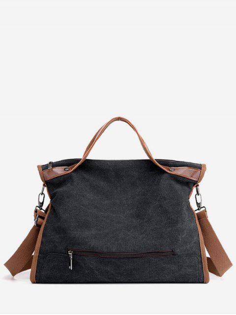 chic Large Capacity Solid Color Tote Bag - BLACK  Mobile