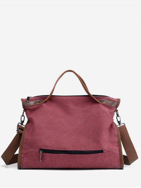Large Capacity Solid Color Tote Bag - Бледно-фиолетовый красный  Mobile