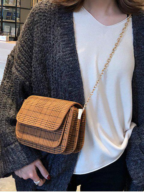 trendy Plaid Pattern Chain Link Crossbody Bag - BROWN  Mobile