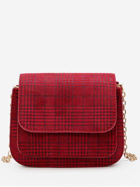 women Plaid Pattern Chain Link Crossbody Bag - RED  Mobile