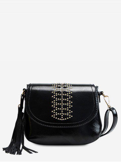 ladies Geometric Design Tassel Crossbody Bag - BLACK  Mobile