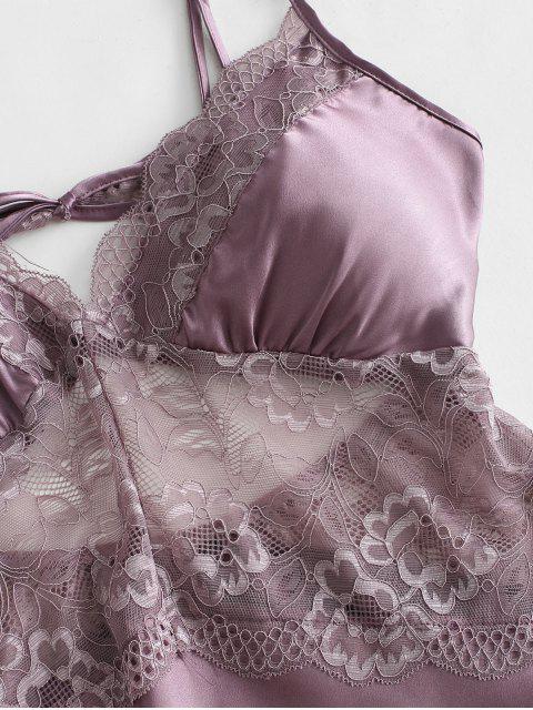 women's Lace Insert Slip Lingerie Dress - VIOLA PURPLE XL Mobile