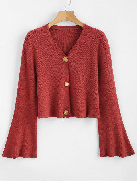 unique Button Up Flare Sleeves Cardigan - CHERRY RED ONE SIZE Mobile