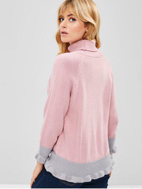 latest Turtleneck Raglan Sleeve Ruffle Sweater - PINK ONE SIZE Mobile