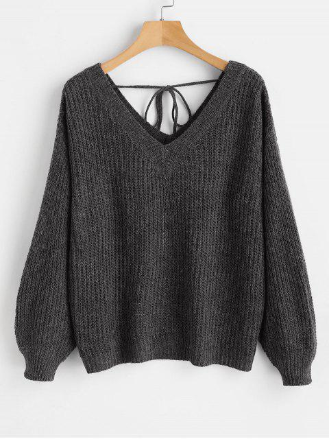 Suéter de gran tamaño con cuello caído y escote en V - Negro S Mobile