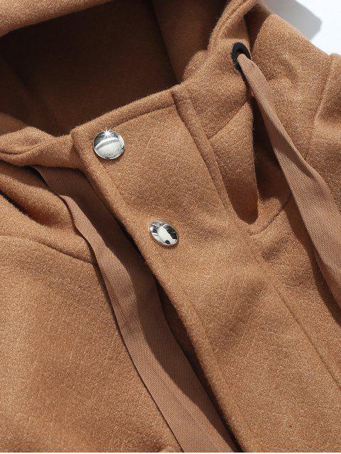 fancy Casual Pocket Woolen Jacket - DARK GOLDENROD M Mobile