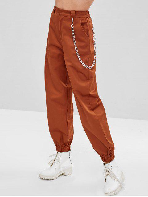 buy Chain Embellished Jogger Pants - CHESTNUT RED L Mobile